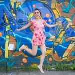 pink floral romper asos Forever 21 ballet flats Kate Spade emerson place emi black graffiti mural 4