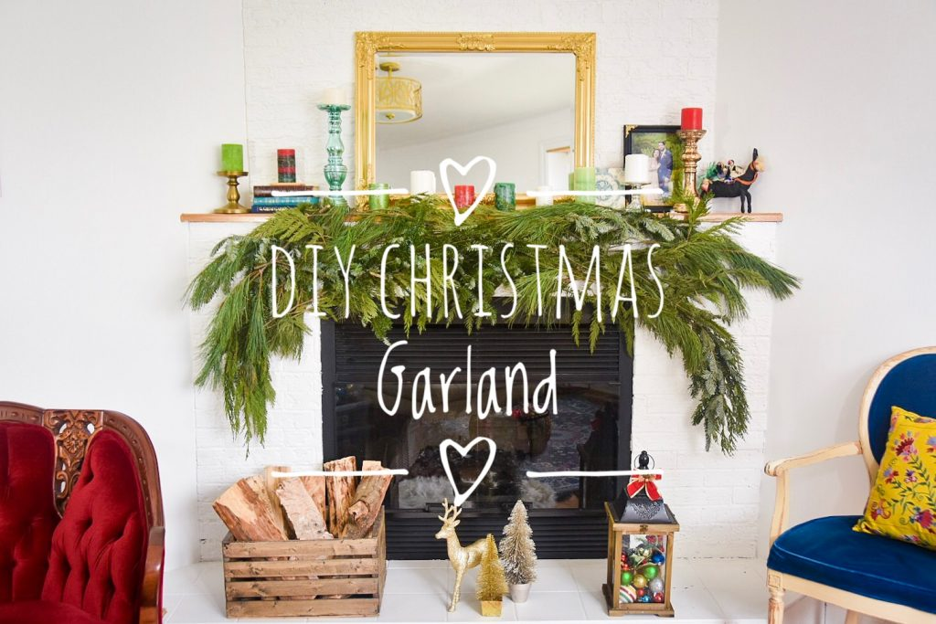 DIY christmas holiday mantle fireplace garland real evergreen how to guide 2