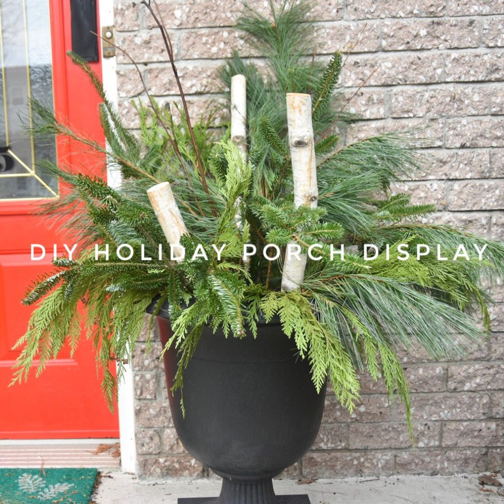 DIY Christmas Holiday planter display