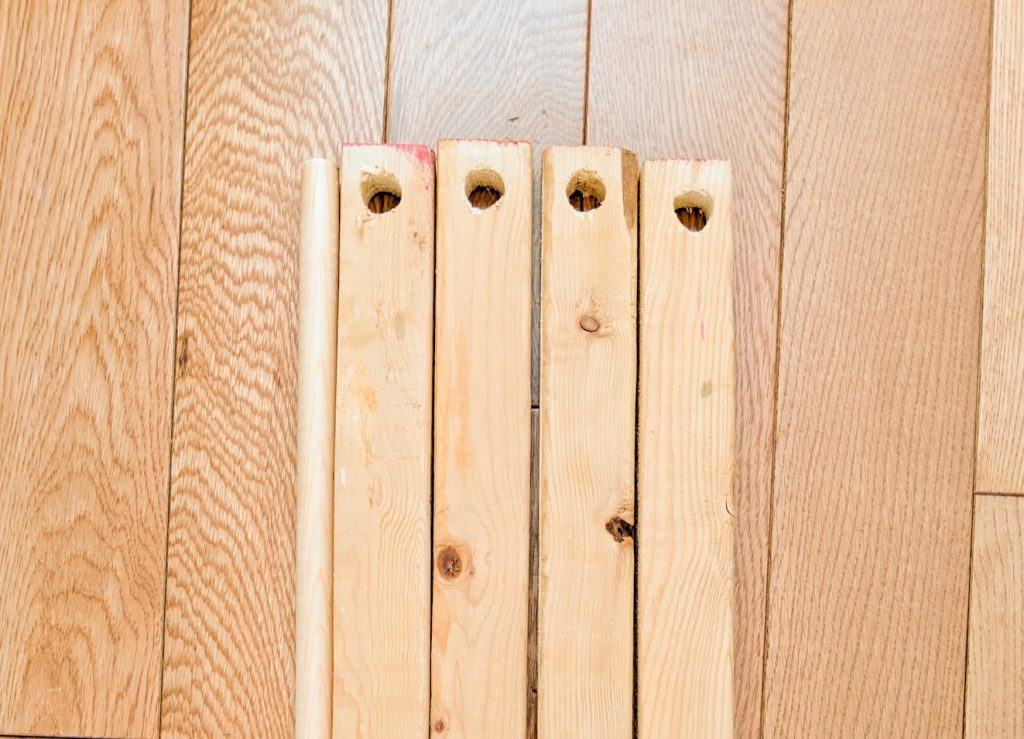 drill holes for dowel DIY baby gym Montreal lifestyle blog