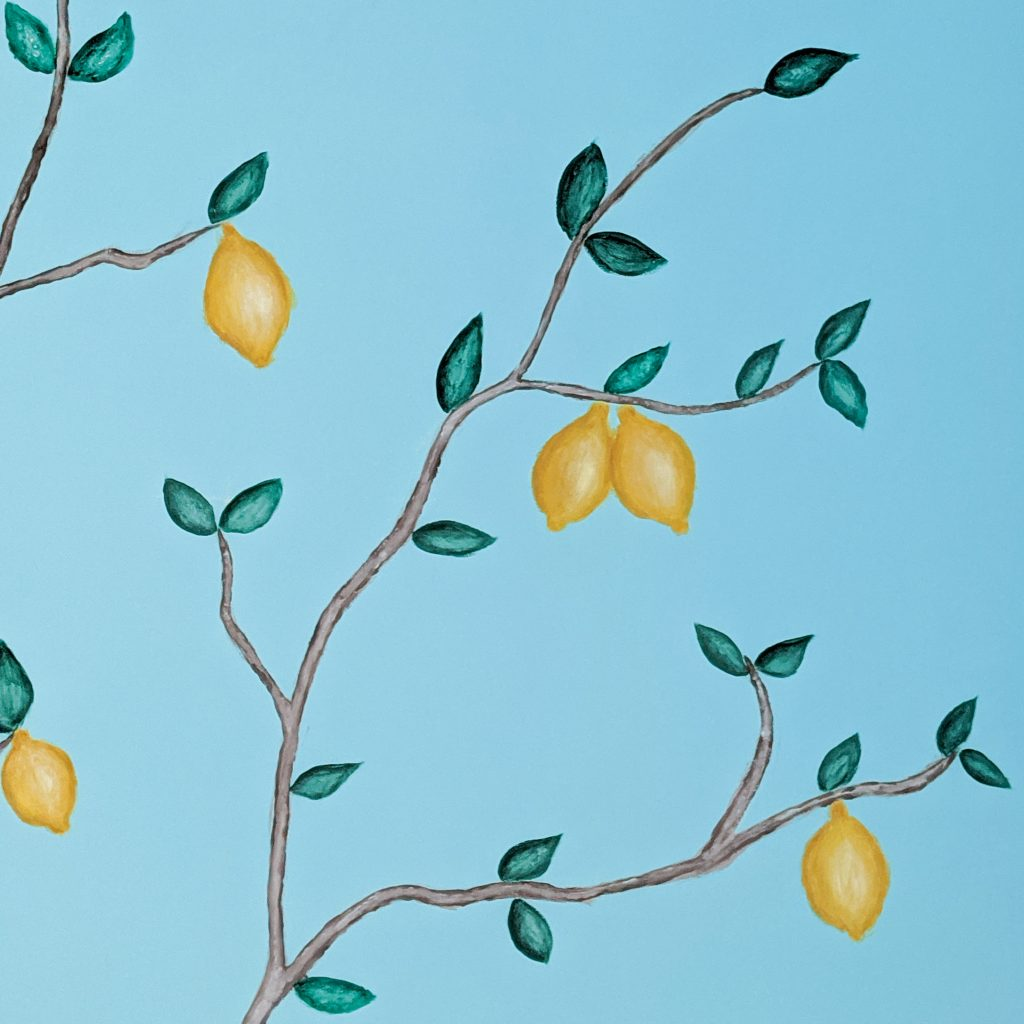 DIY nursery lemon tree statement mural accent wall Montreal lifestyle fashion beauty blog 3