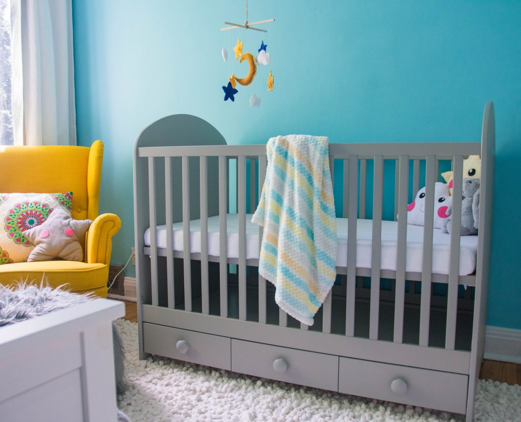 Ikea Gonatt grey blue yellow unisex gender neutral baby nursery design decor Montreal lifestyle beauty fashion blog 1