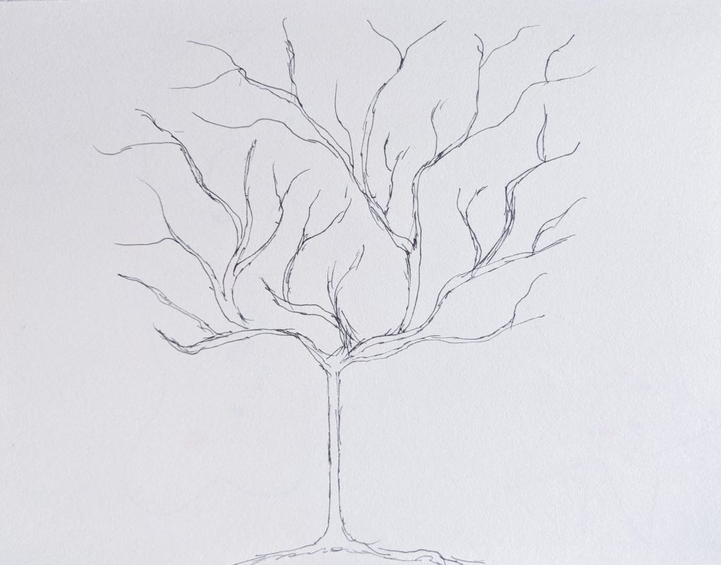 blueprint sketch blueprint sketch DIY lemon tree statement mural accent wall Montreal lifestyle fashion beauty blog