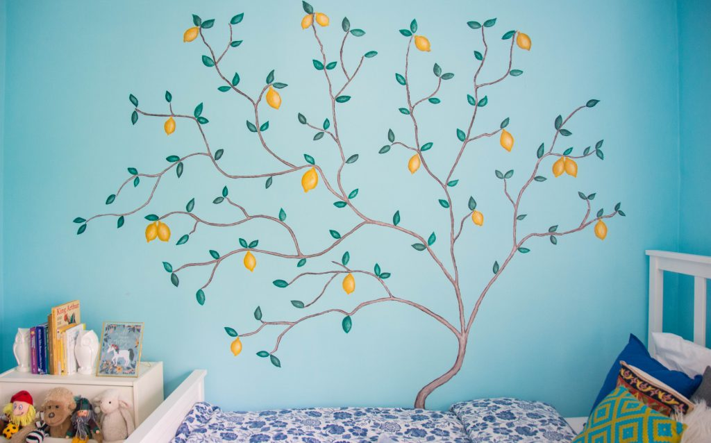 lemon tree mural unisex gender neutral baby nursery design decor Montreal lifestyle beauty fashion blog