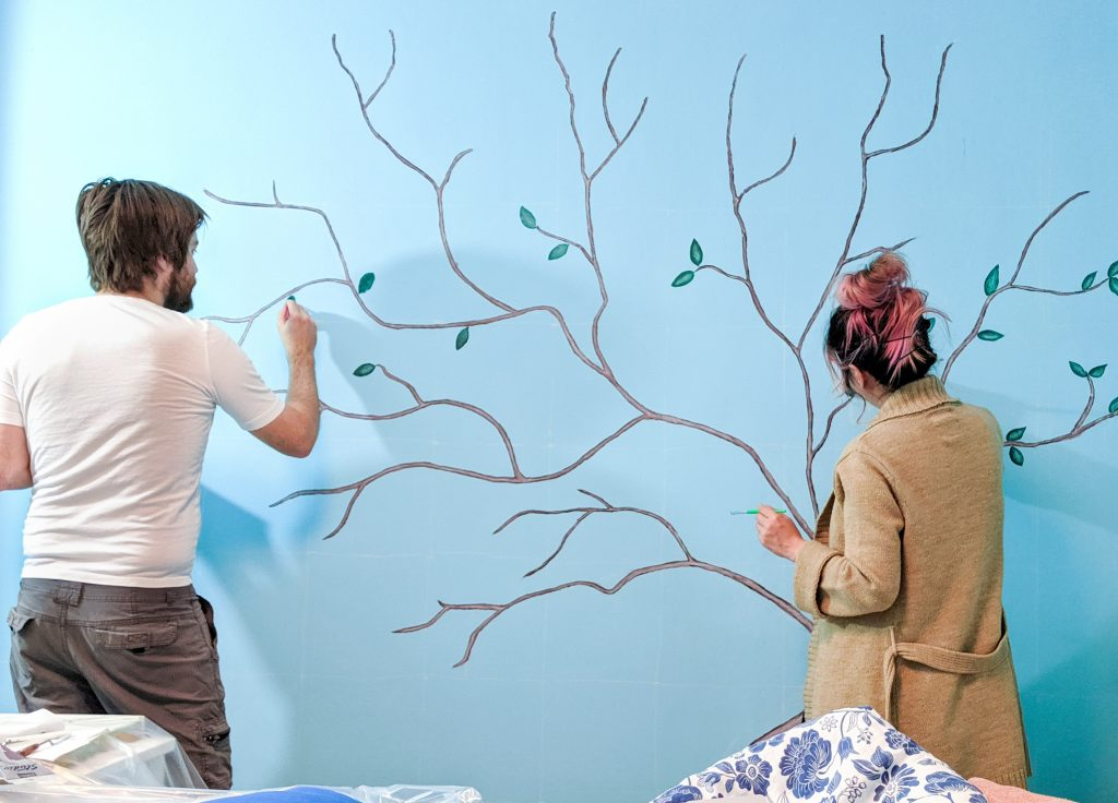 paint leaves DIY lemon tree statement mural accent wall Montreal lifestyle fashion beauty blog
