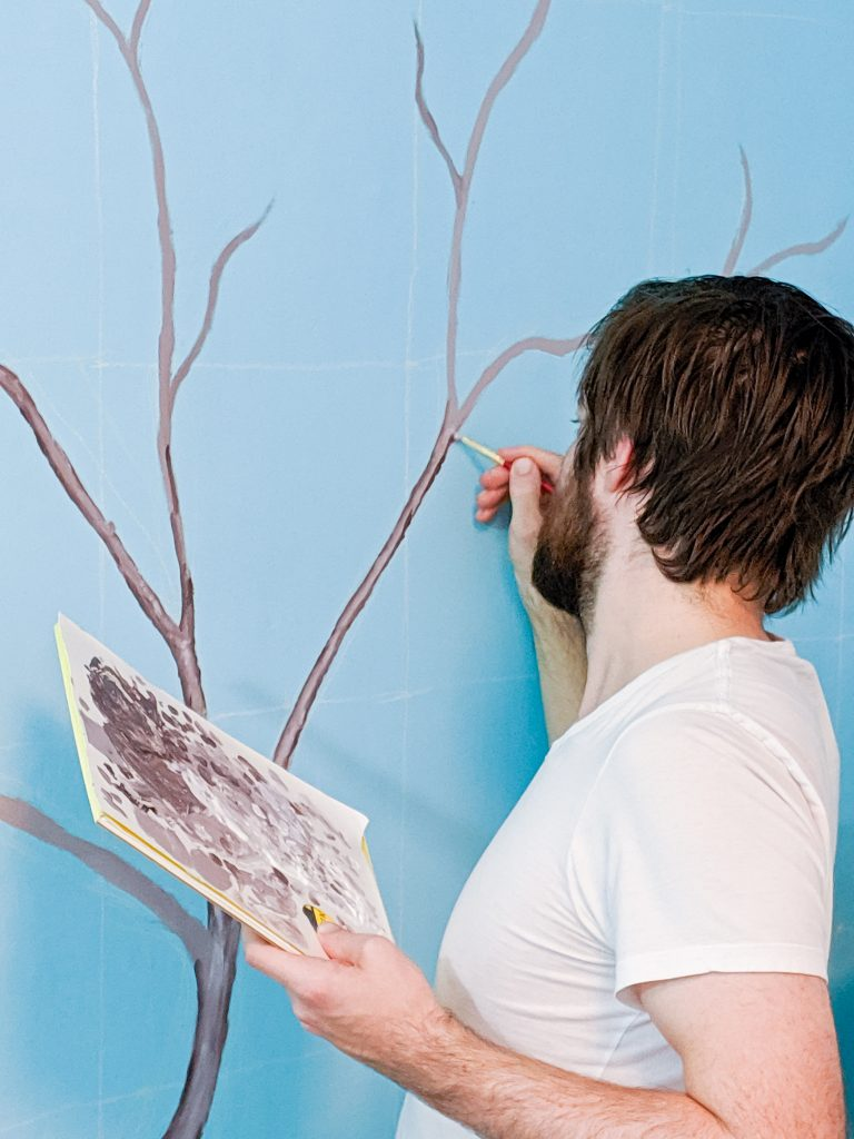 paint trunk and branches DIY lemon tree statement mural accent wall Montreal lifestyle fashion beauty blog 1