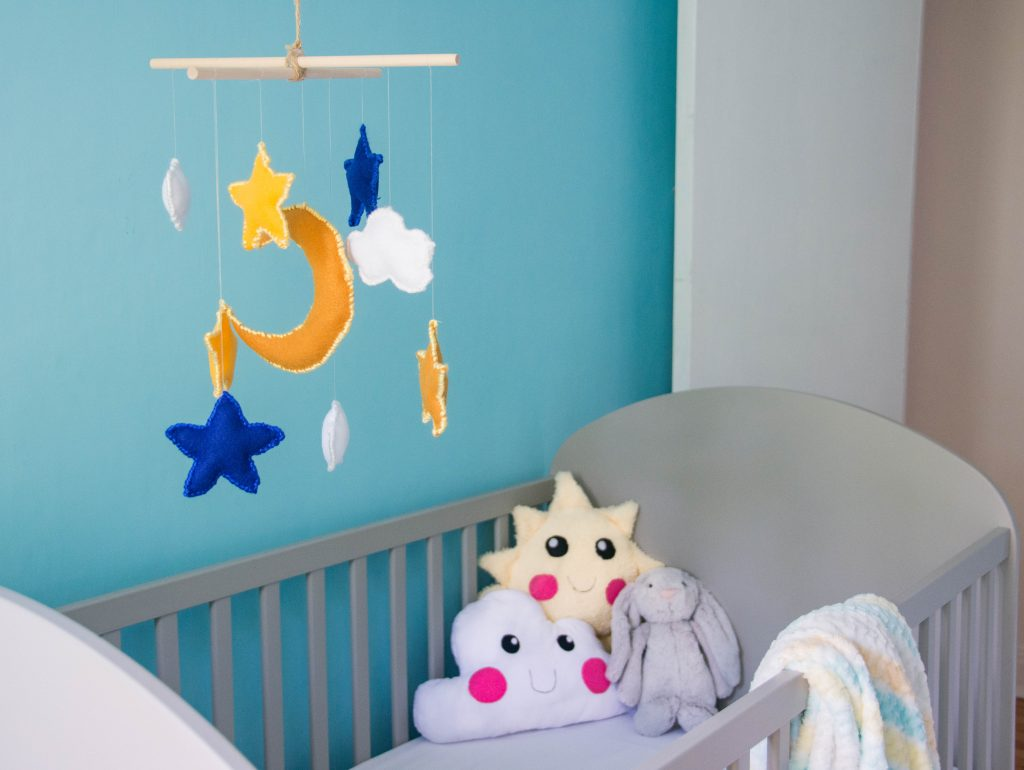 star moon cloud felt mobile sun cloud pillow unisex gender neutral baby nursery design decor Montreal lifestyle beauty fashion blog 1