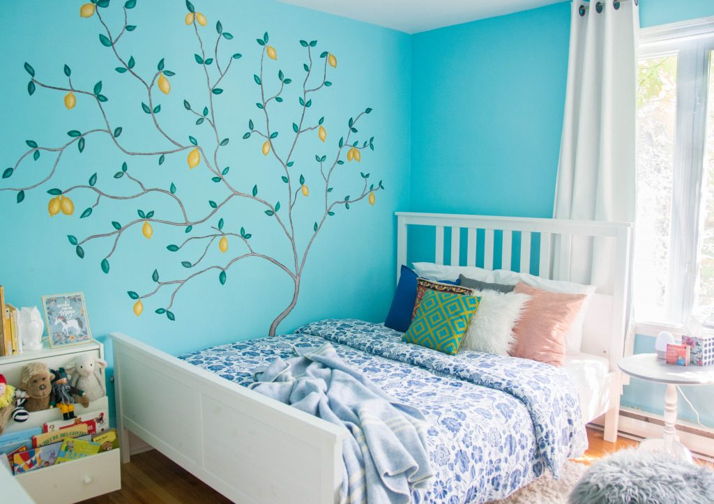 unisex gender neutral lemon tree blue yellow grey baby nursery design decor Montreal lifestyle beauty fashion blog 2