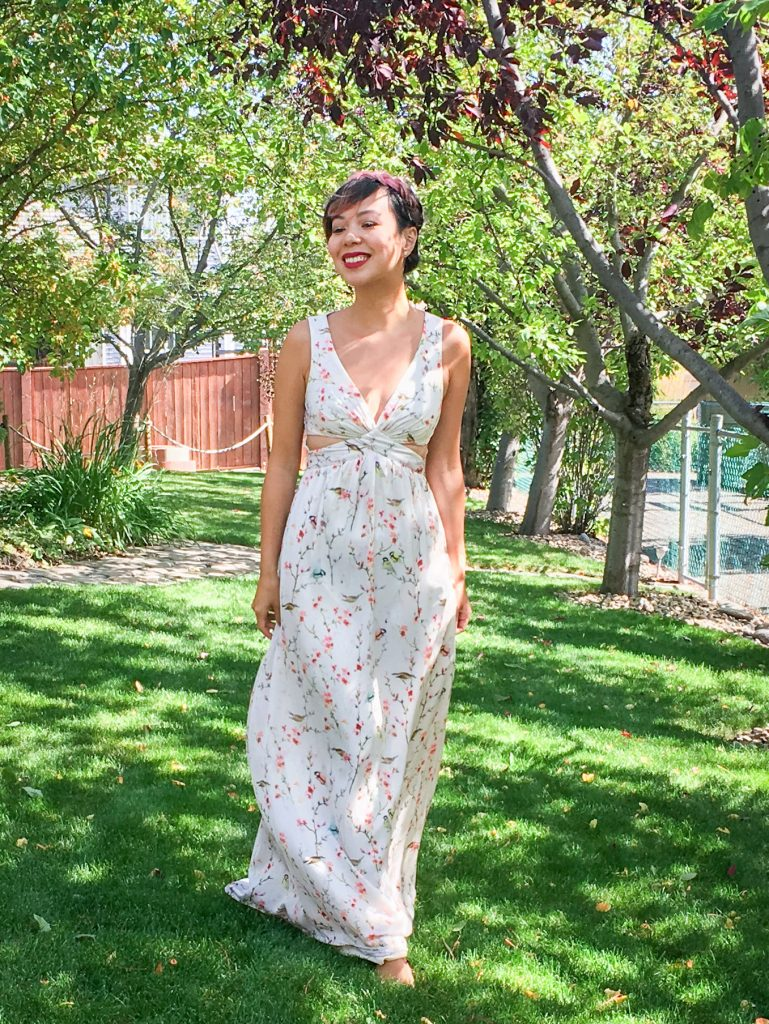 before floral bird branch maxi dress DIY alterations Montreal fashion beauty lifestyle blog 3