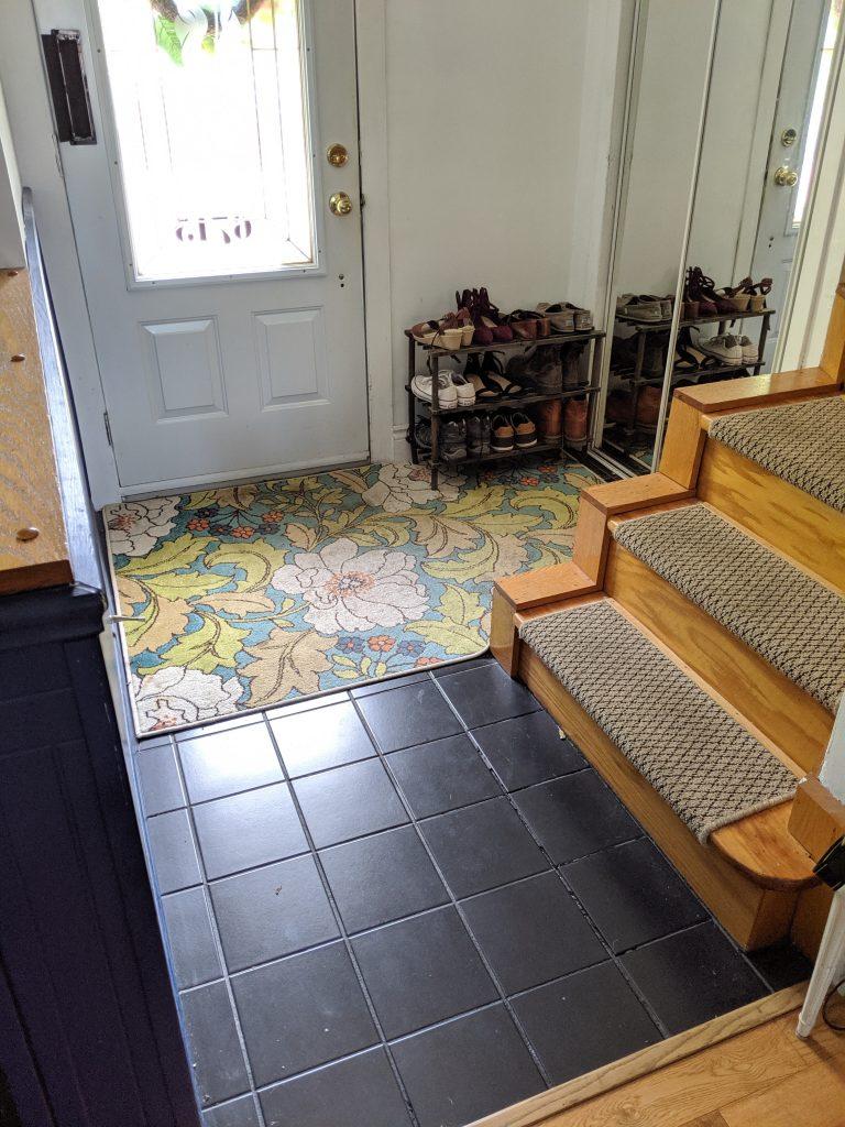 before DIY stick on tile renovation Montreal lifestyle blog