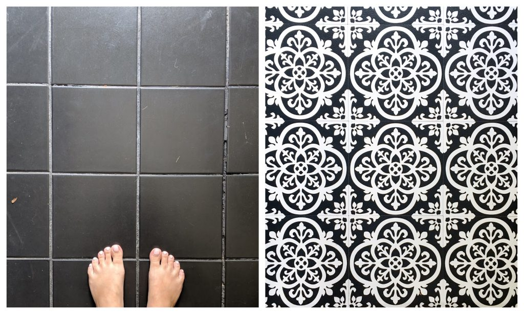 before and after DIY peel and stick floor tile Montreal lifestyle fashion beauty blog