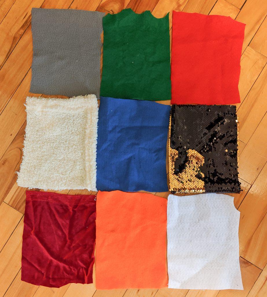 cut fabrics into squares DIY sensory blanket Montreal lifestyle fashion beauty blog