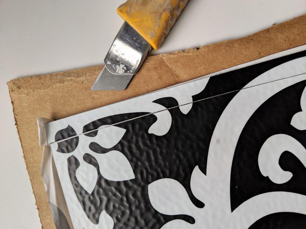 cut tile DIY stick on tile makeover Montreal lifestyle fashion beauty blog
