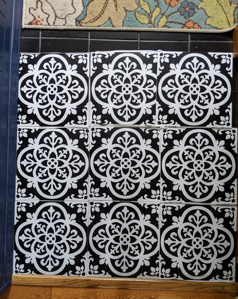 lay out tile DIY stick on tile makeover Montreal lifestyle fashion beauty blog