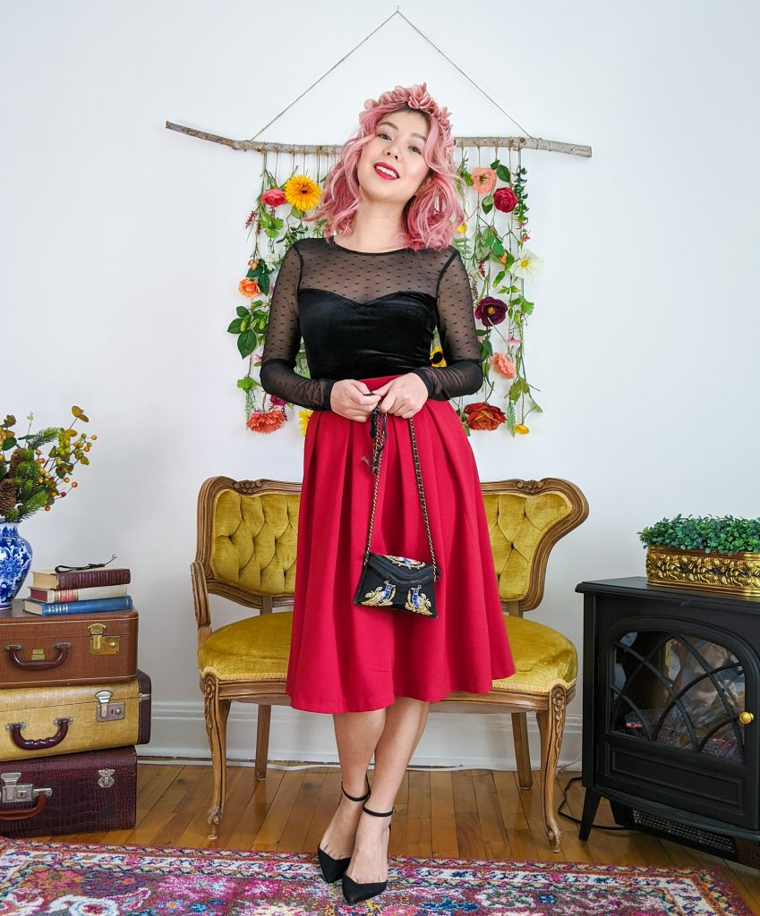 floral crown black velvet mesh top red skirt Valentine's Day date night outfit Montreal fashion beauty lifestyle blog 3