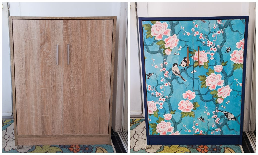 before and after DIY shoe cabinet remodel Montreal lifestyle fashion beauty blog