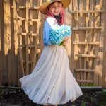straw hat tulle maxi skirt chambray shirt spring country Montreal fashion beauty lifestyle blog 5