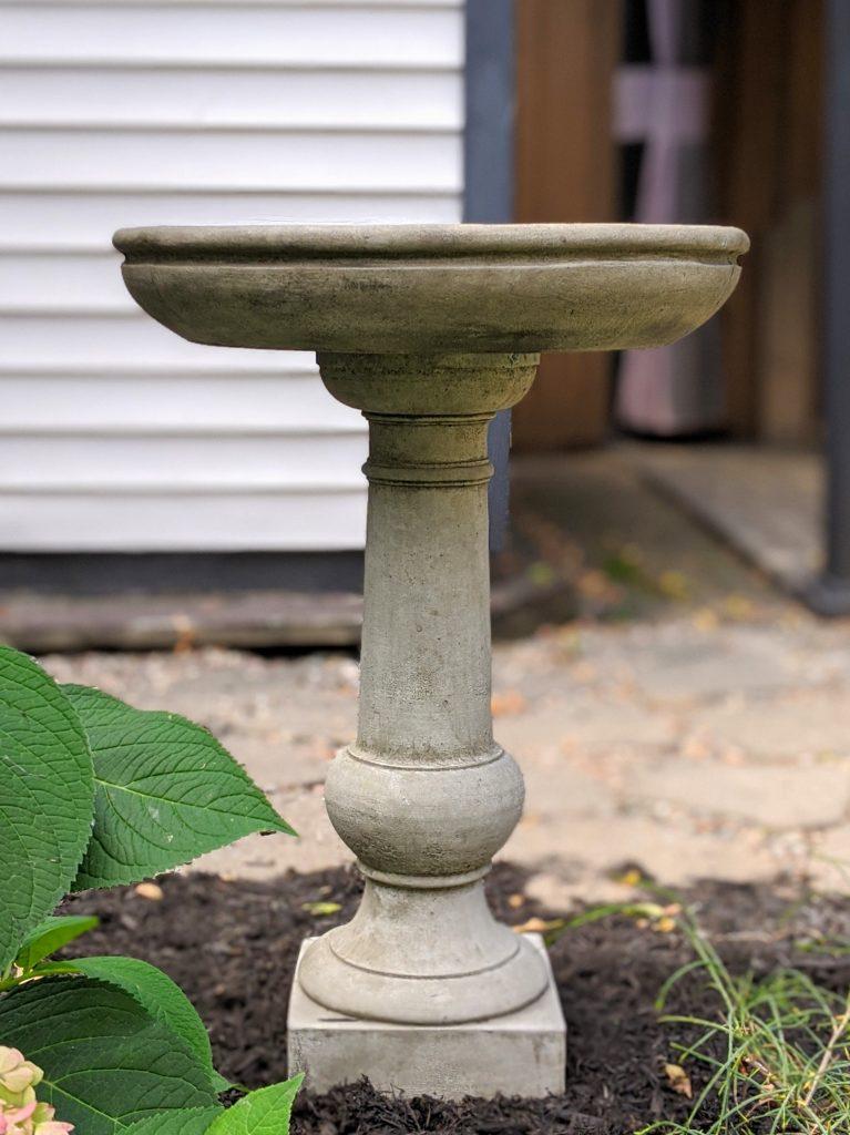 concrete bird bath backyard garden landscaping makeover Montreal lifestyle fashion beauty blog