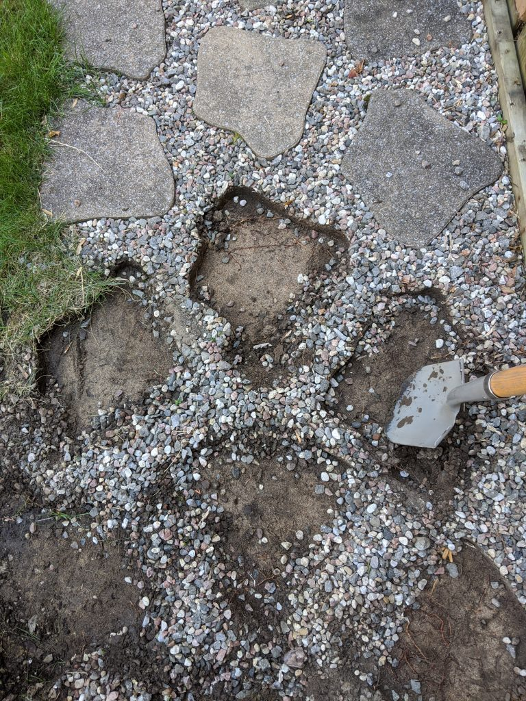 removing pavers backyard landscape garden makeover Montreal lifestyle fashion beauty blog