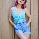 retro vintage halter top high-waisted denim shorts Montreal fashion beauty lifestyle blog 6