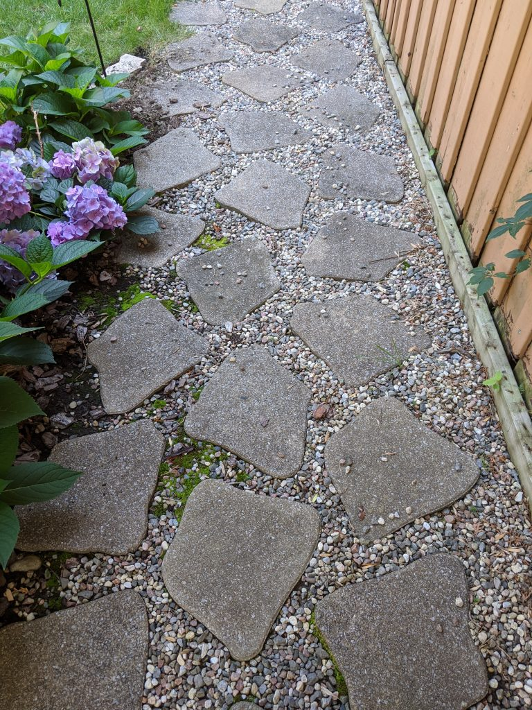 stone walkway backyard landscape garden makeover Montreal lifestyle fashion beauty blog