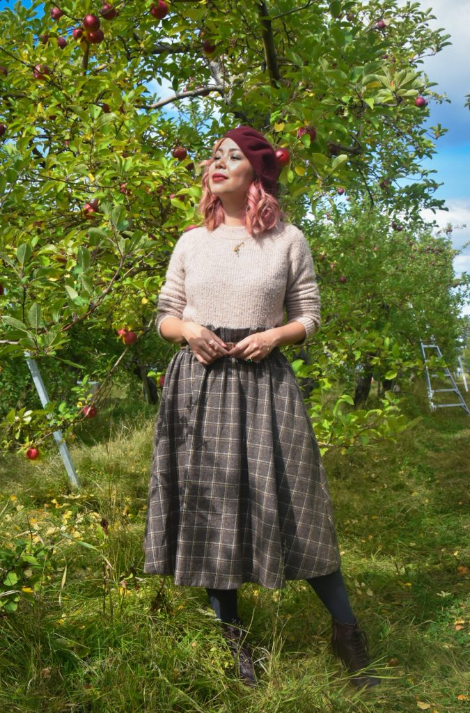 checkered skirt beret vintage retro fall fashion Quinn farm apple picking Montreal lifestyle fashion beauty blog 3