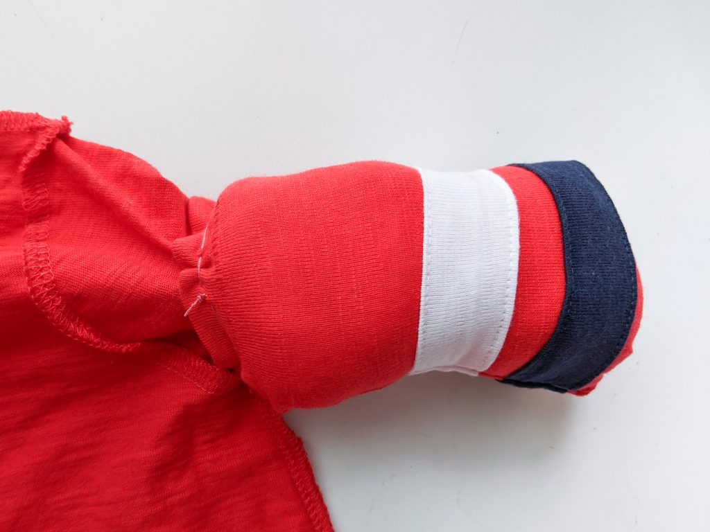 finish sewing arms DIY toddler Gaston Halloween costume Montreal lifestyle fashion beauty blog