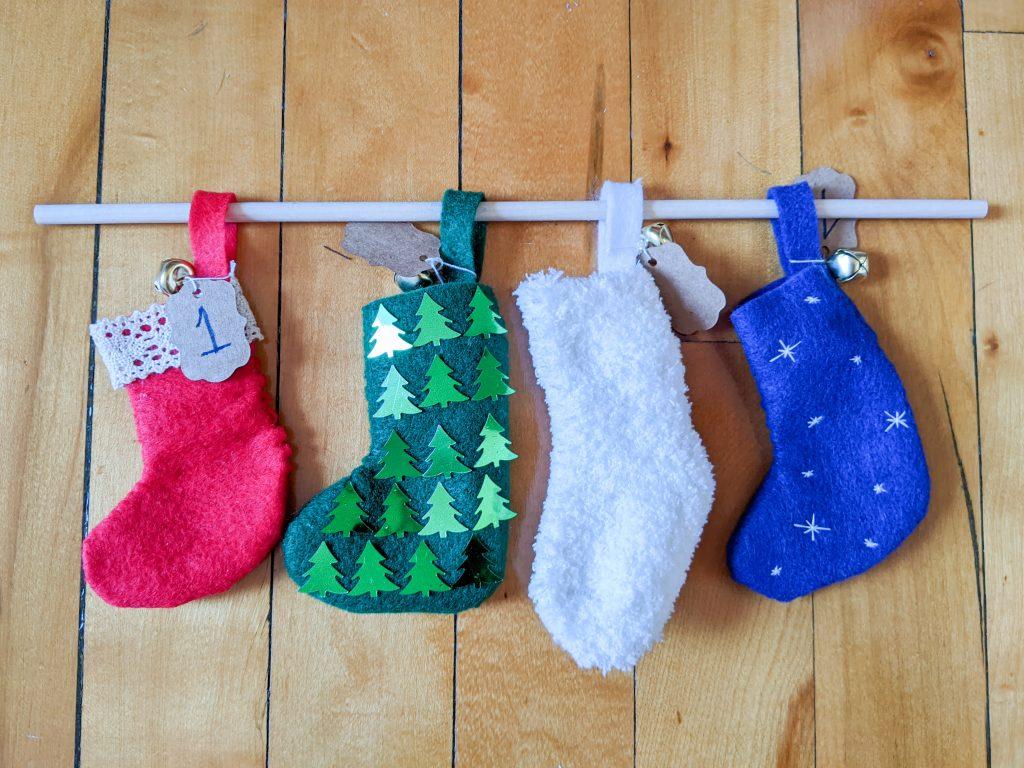 string stockings through dowel DIY advent calendar Montreal lifestyle fashion beauty blog