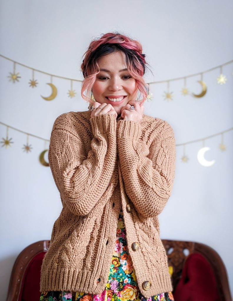 Simons cable knit cardigan Zara floral sundress winter fashion Montreal fashion beauty lifestyle blog 2