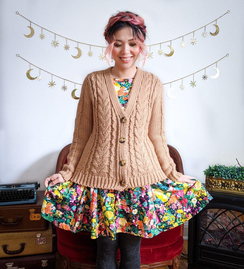 Simons cable knit cardigan Zara floral sundress winter fashion Montreal fashion beauty lifestyle blog 3