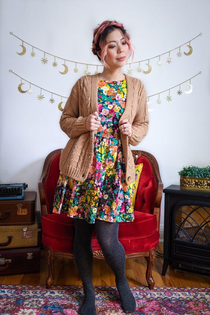 Simons cable knit cardigan Zara floral sundress winter fashion Montreal fashion beauty lifestyle blog 4