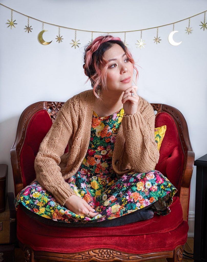 Simons cable knit cardigan Zara floral sundress winter fashion Montreal fashion beauty lifestyle blog 5