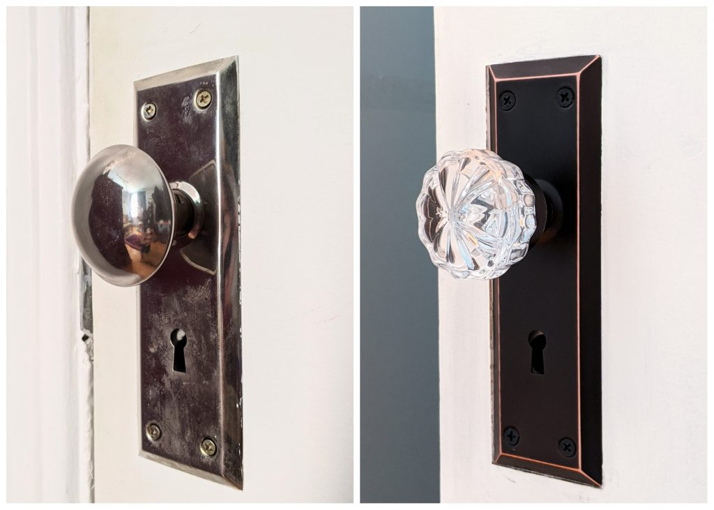 before and after vintage-inspired mortise lock doorknob DIY door remodel makeover Montreal lifestyle beauty fashion blog
