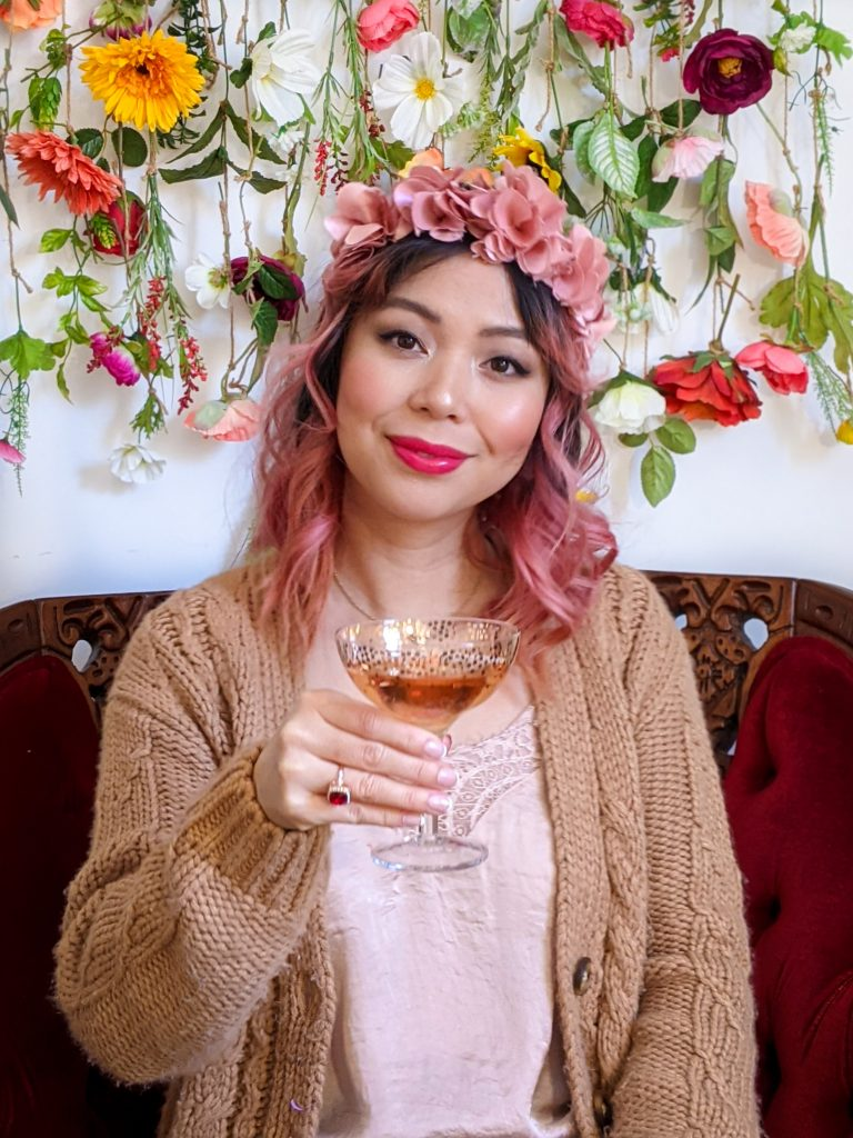 floral crown pink camisole sweatpants cardigan stay-at-home Valentine's Day date night Montreal fashion lifestyle beauty blog 1