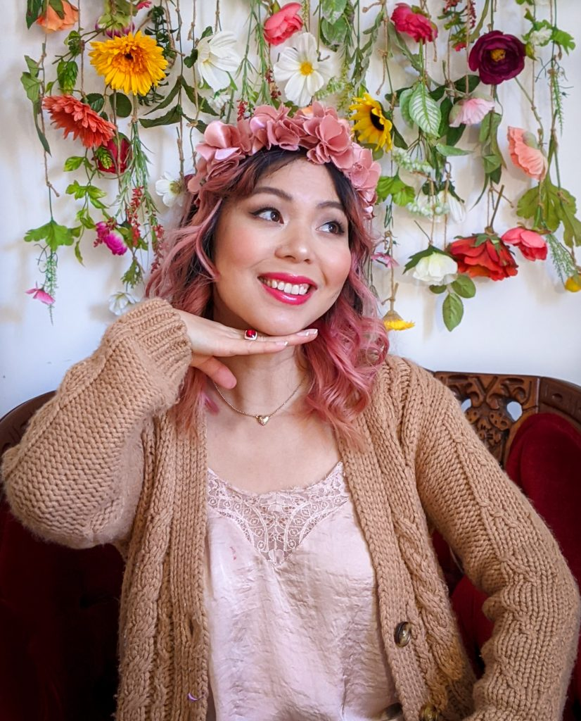 floral crown pink camisole sweatpants cardigan stay-at-home Valentine's Day date night Montreal fashion lifestyle beauty blog 2