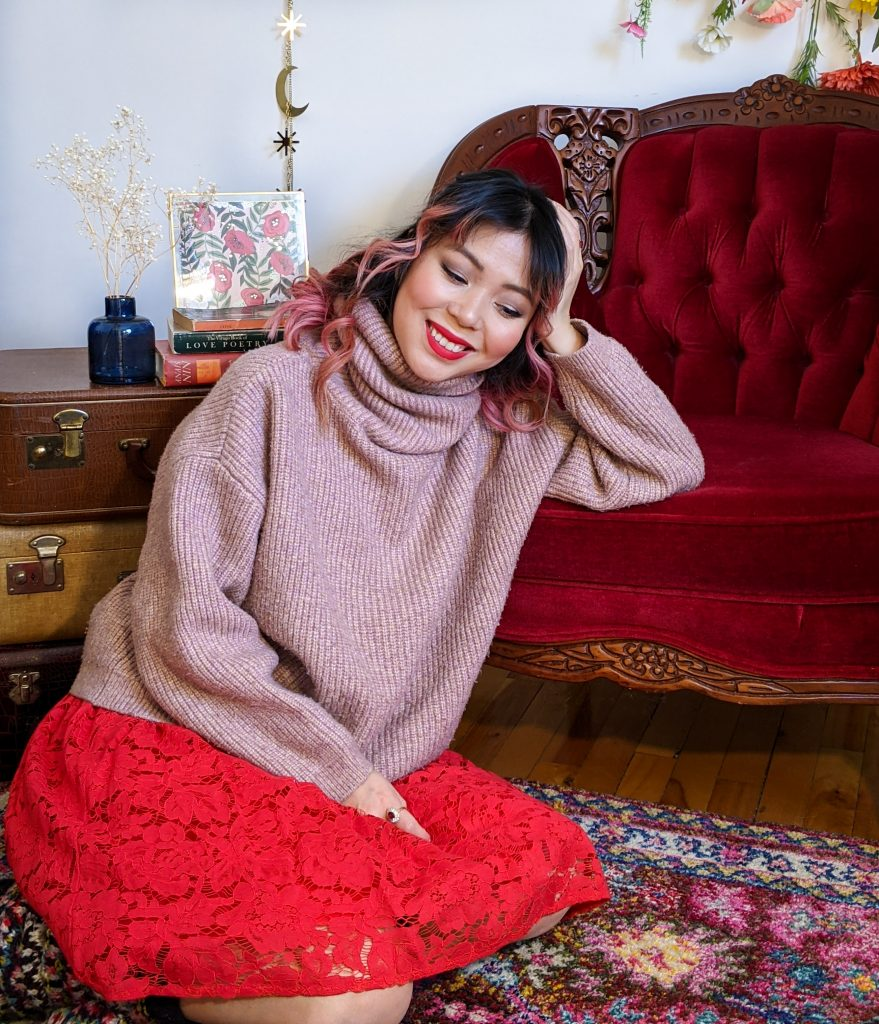 pink turtleneck red lace skirt reading socks stay-at-home Valentine's Day date night Montreal fashion lifestyle beauty blog 1