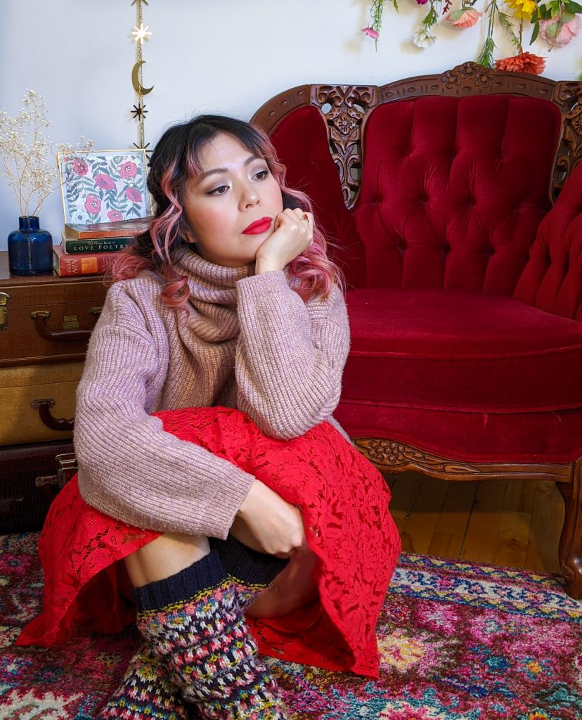 pink turtleneck red lace skirt reading socks stay-at-home Valentine's Day date night Montreal fashion lifestyle beauty blog 2