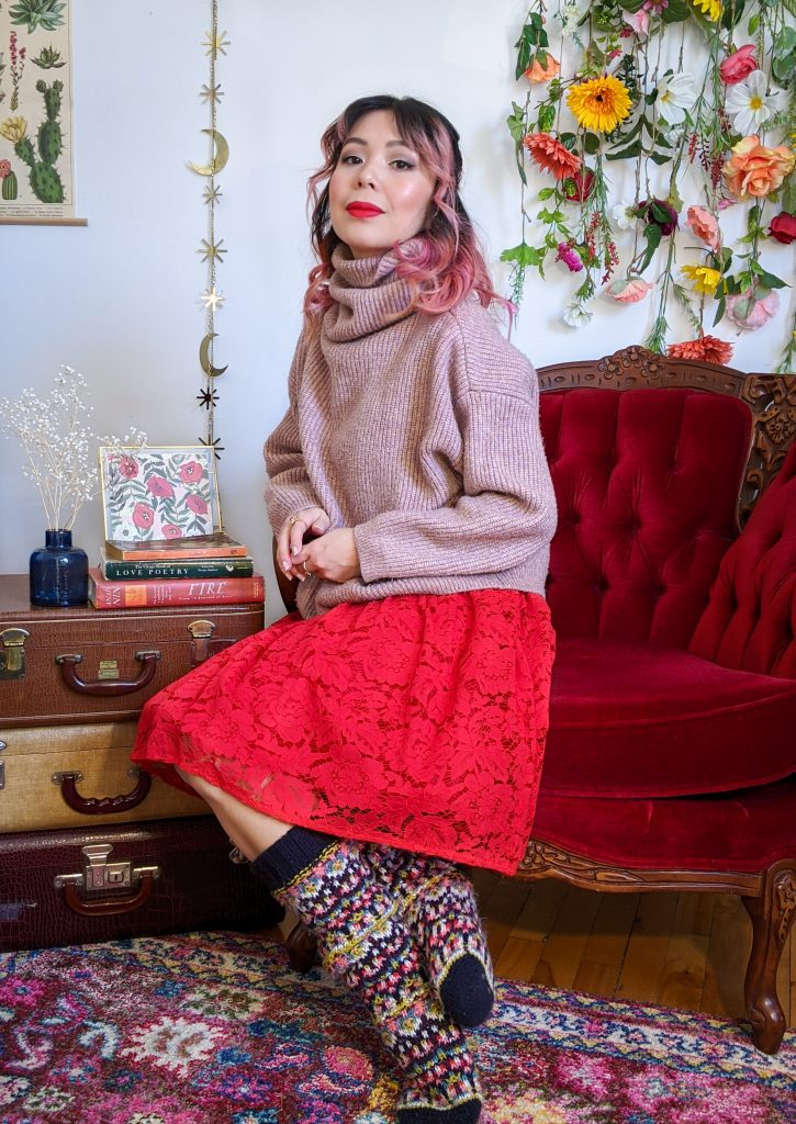 pink turtleneck red lace skirt reading socks stay-at-home Valentine's Day date night Montreal fashion lifestyle beauty blog 3