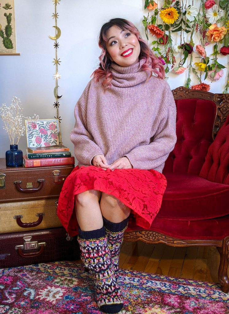 pink turtleneck red lace skirt reading socks stay-at-home Valentine's Day date night Montreal fashion lifestyle beauty blog 4