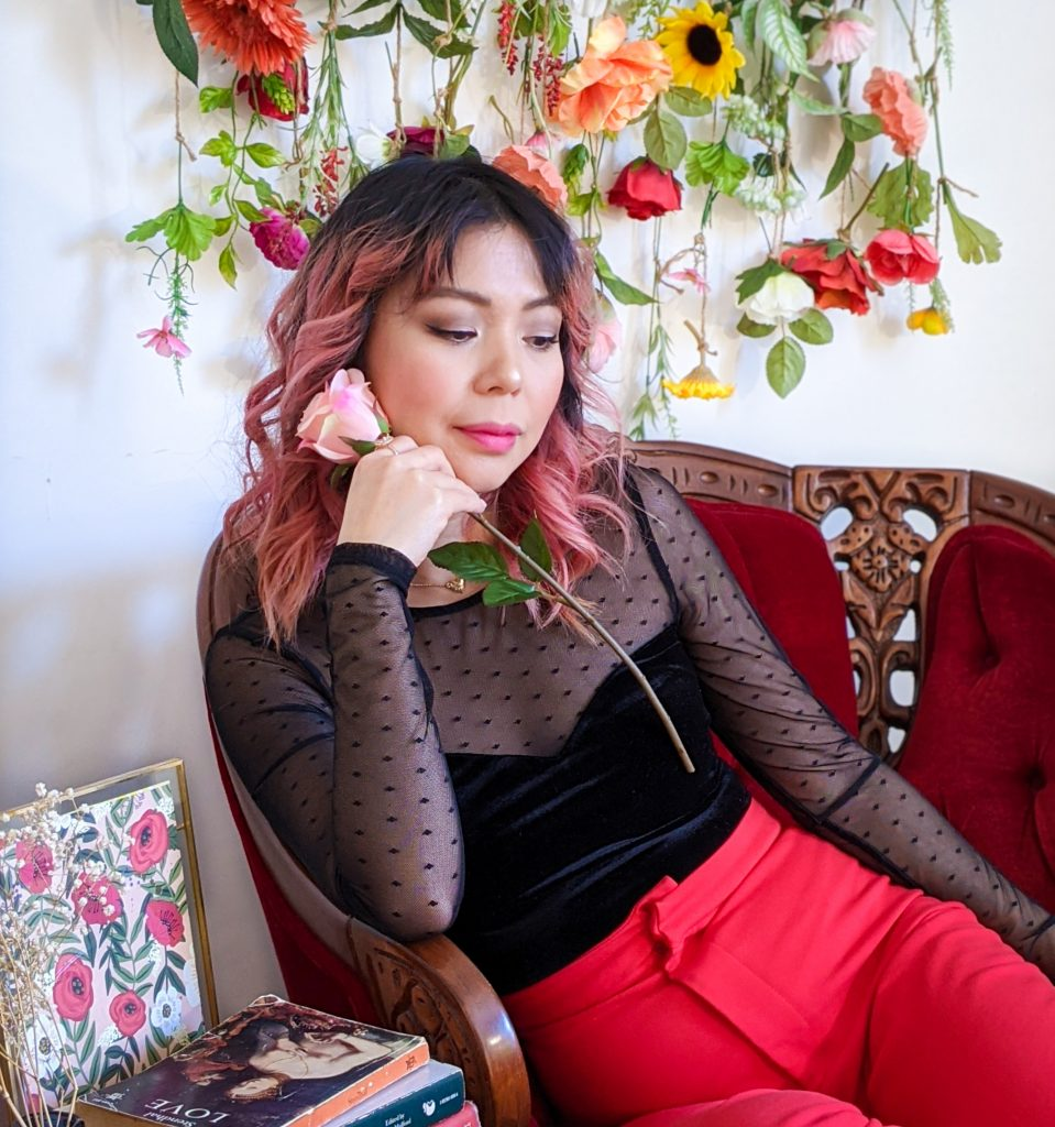 polka dot mesh velvet sweatheart top red trousers stay-at-home Valentine's Day date night Montreal fashion lifestyle beauty blog 1