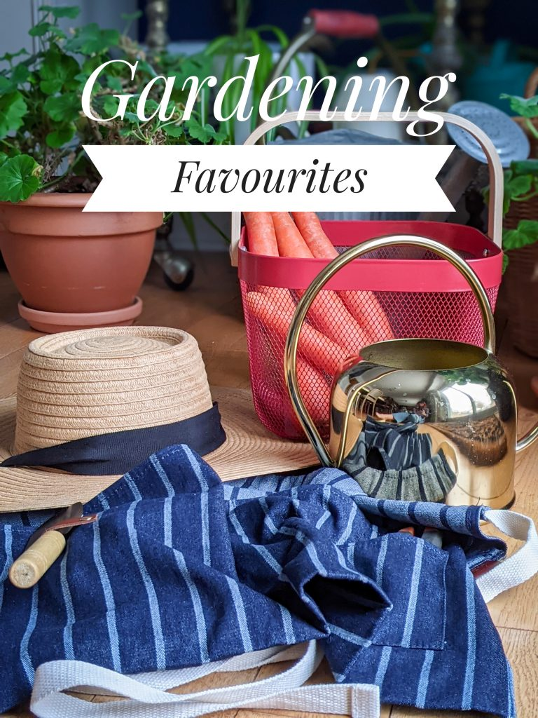 IKEA Risatorp basket Sophie Conran waist apron Love & Lore straw hat H&M gold watering can gardening gear favourites Montreal lifestyle fashion beauty blog