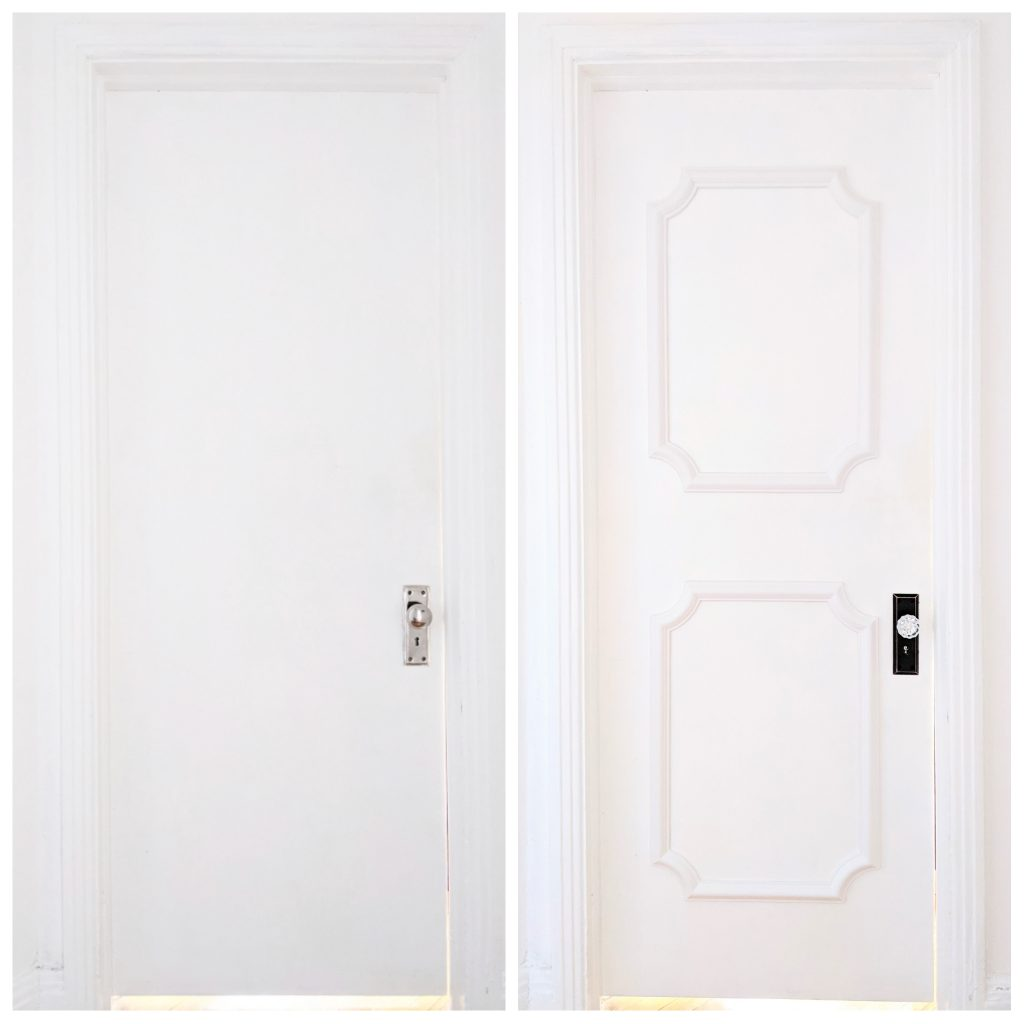 before and after how to install door trim decorative moulding DIY door makeover Montreal lifestyle fashion beauty blog