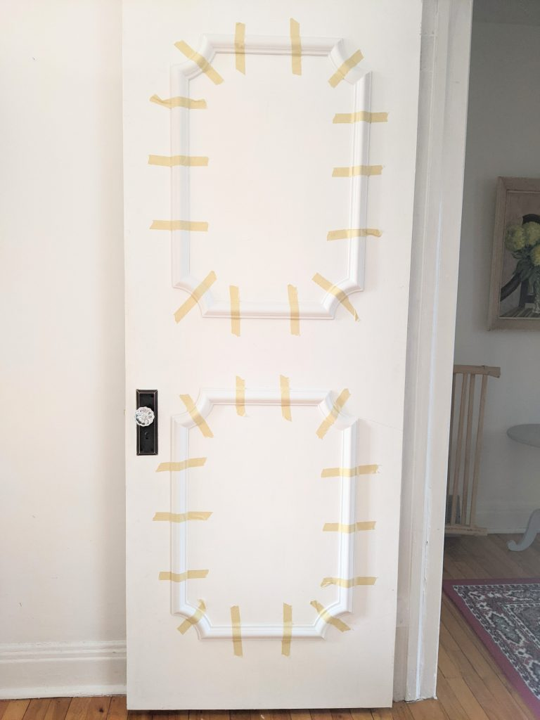 two panels per door side DIY door makeover installing decorative trim moulding Montreal lifestyle fashion beauty blog