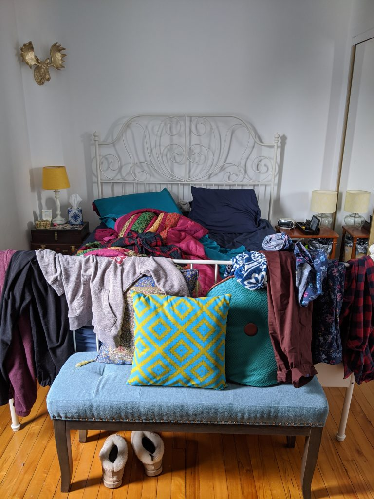 before queen bed DIY master bedroom remodel makeover Montreal lifestyle fashion beauty blog