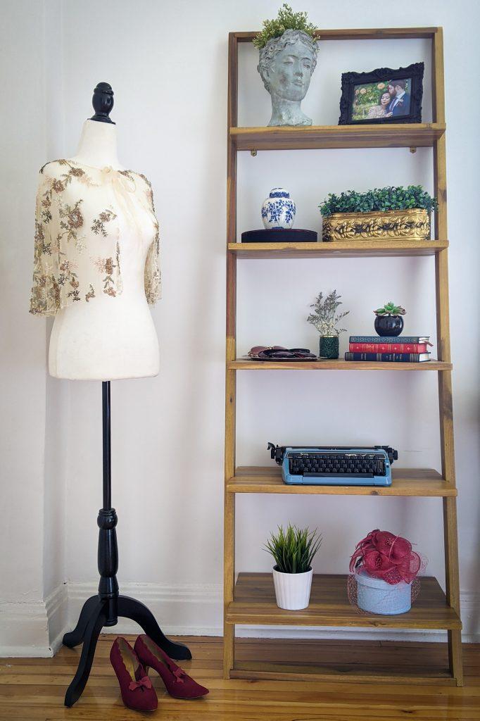 shelf dress form after DIY master bedroom makeover remodel Montreal lifestyle fashion beauty blog