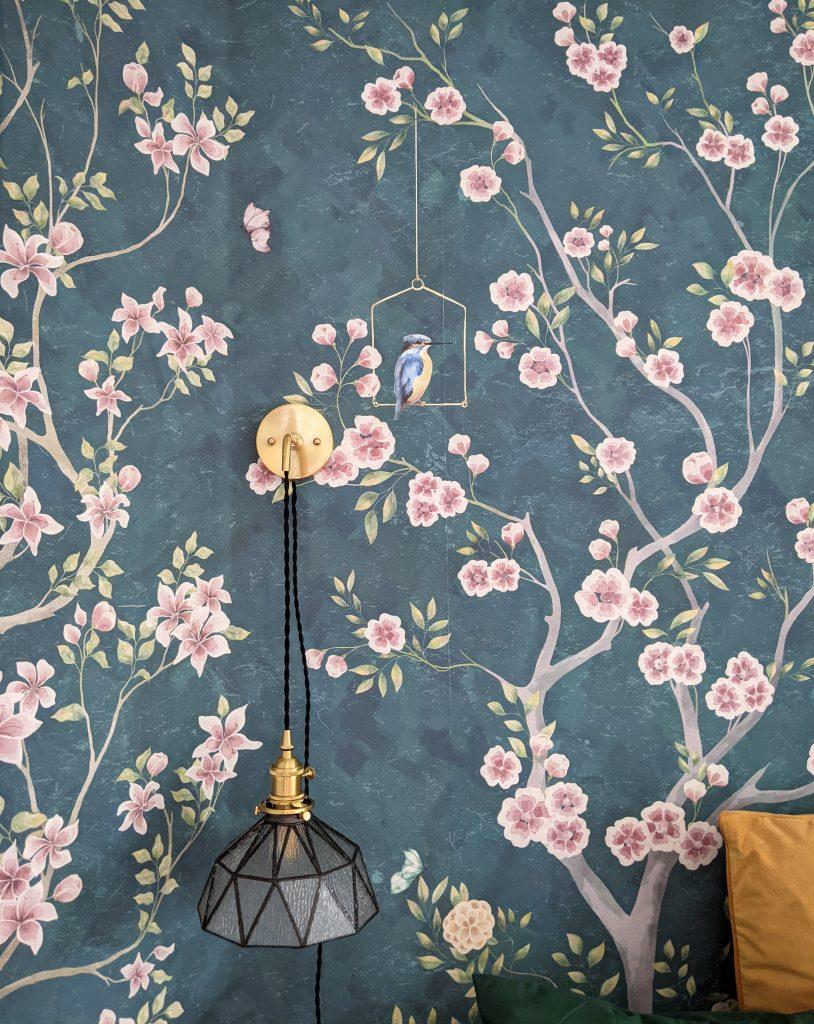 after wallpaper sconce DIY master bedroom makeover remodel Montreal lifestyle fashion beauty blog