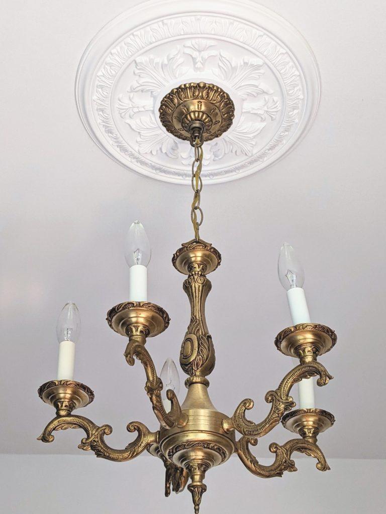 vintage chandelier with medallion