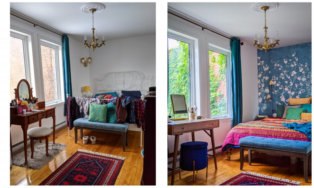 before and after DIY bedroom makeover remodel Montreal lifestyle fashion beauty blog